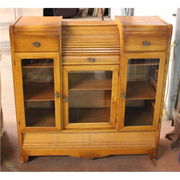 """Vintage Wooden Cabinet with Roller Drawer Top, Glass Doors - 46""""wide, 48"""" Tall, 17""""deep"""