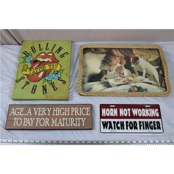 Rolling Stones Wall Art, License Plate, Melamine Serving Tray