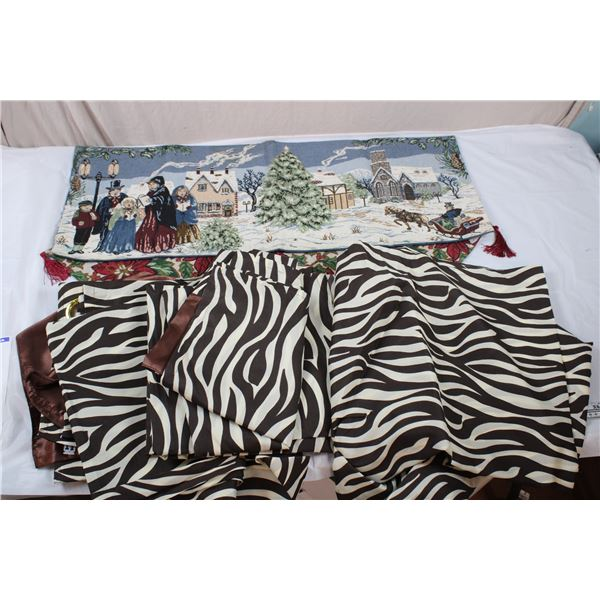 4 Long Zebra-pattern Curtains (large, living room windows), Christmas Place settings