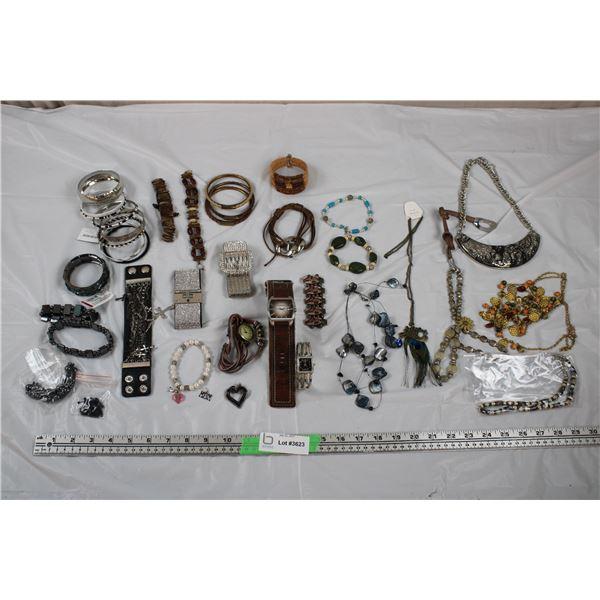 Jewellery Lot - Watch Bracelets (fossil) + Necklaces