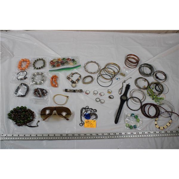 Jewellery Lot - Bracelets + Rings, Sunglasses