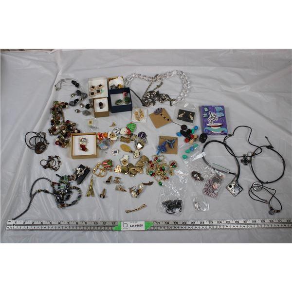 Jewellery Lot - Festive Brooch, Pins, Earrings, bracelets, Cufflinks, necklaces + misc items