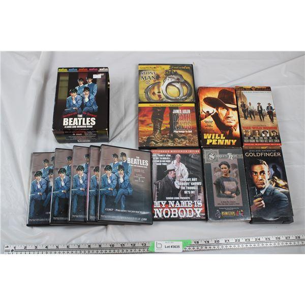 5-disc Beatles DVD set - Graphic Audio Books, VHS movies