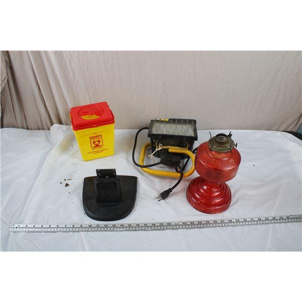 Vintage Red Lantern, trouble light + Biohazard Container