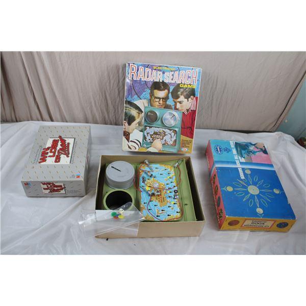 Radar Search Game, Win Lose or Draw, Tasco Microscope Kit (taped shut, sounds loose inside)