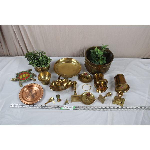 Large Lot of Brass and Copper - Plates, Keys, Flower Planters, Candlesticks