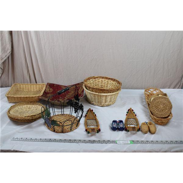 Wicker Baskets + Miniature Snowshoes