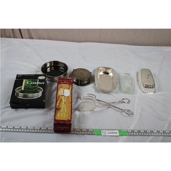 Silver Plated Wine Coaster, set of 6 coasters, silver plated Tongs + Butter dish