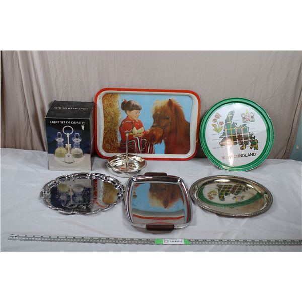 Silver Plated Serving Trays, Newfoundland, Child with Pony dinner tray