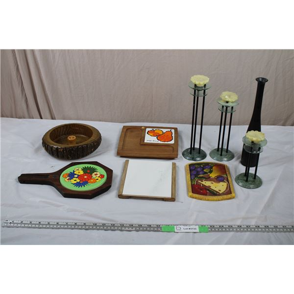 Wooden Candy Bowl, Serving plates, 3 Milano Candle Holders, Slim Vase (Stone or Ceramic)