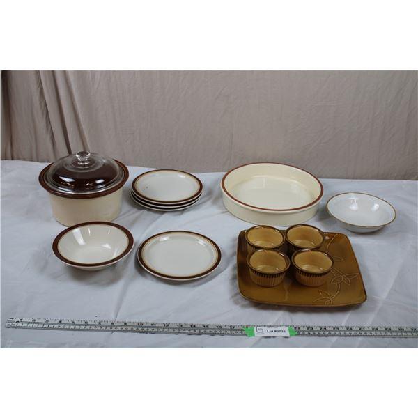Various Stoneware Plates, Bowls, Pot