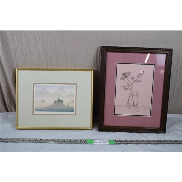 2 framed pictures - hand signed