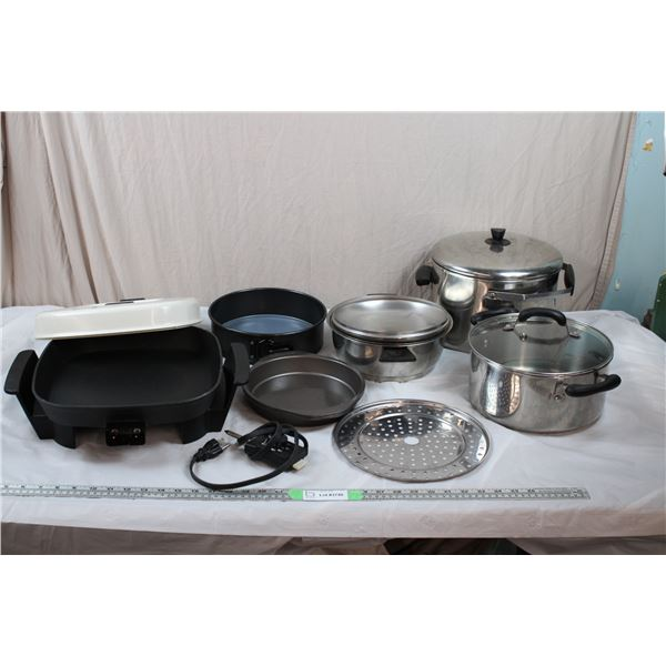 Electric Frying Pan, Baking Pans, Large Stainless Steel Pot + Pot Strainer