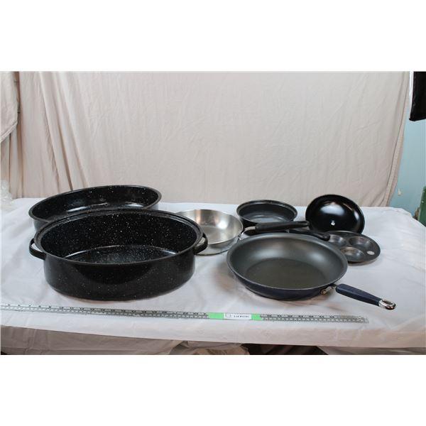 Large Enamel Roaster + Frying Pans