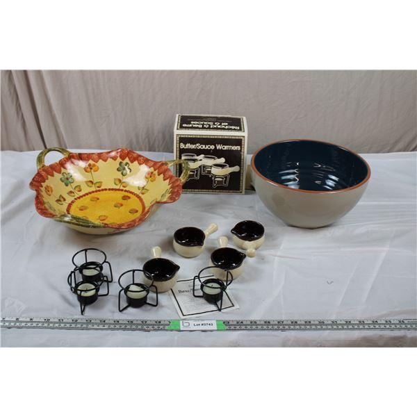 Italian fruit Bowl , Gluckstein Stone Salad Bowl, Stone Butter Warmers