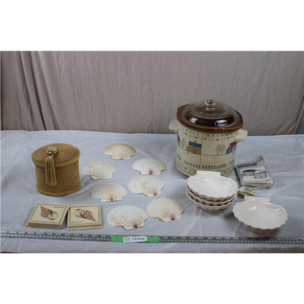 Stone CrockPot, Seashell Coasters, (real seashell) serving trays + stone serving trays