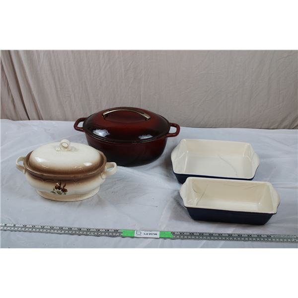 Heavy Kitchen-Aid Stone Roaster, ceramic pans, Hand Painted Vintage ceramic roaster