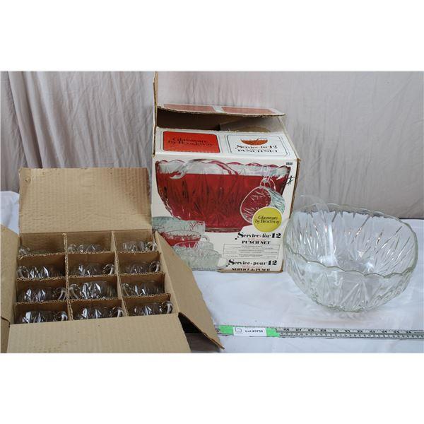 Brockway Punch Bowl + Glass Set
