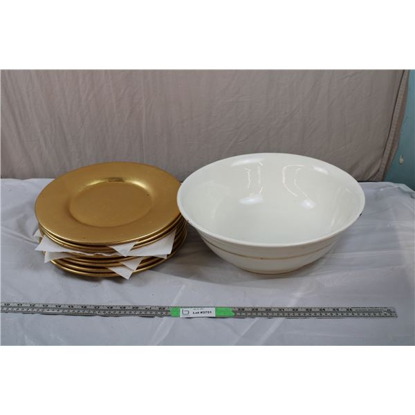 """Pier1 Gold Plates """"decorative use only"""" (13"""" round) - 15"""" Ceramic Bowl"""