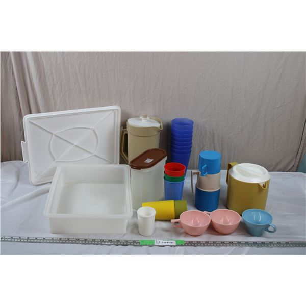 Tupperware Containers, Pitcher, plastic cups, rubbermaid
