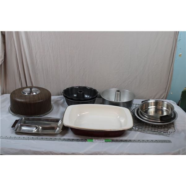 Glass CakePlate+ Cover - baking pans, Stone baking roaster half