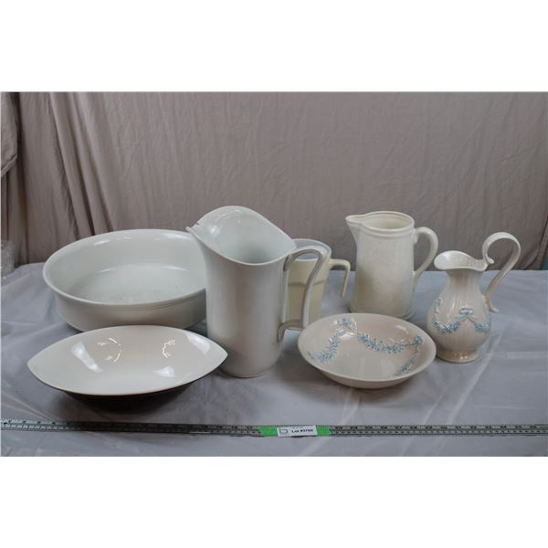 Plastic and Ceramic Pitchers + Bowls