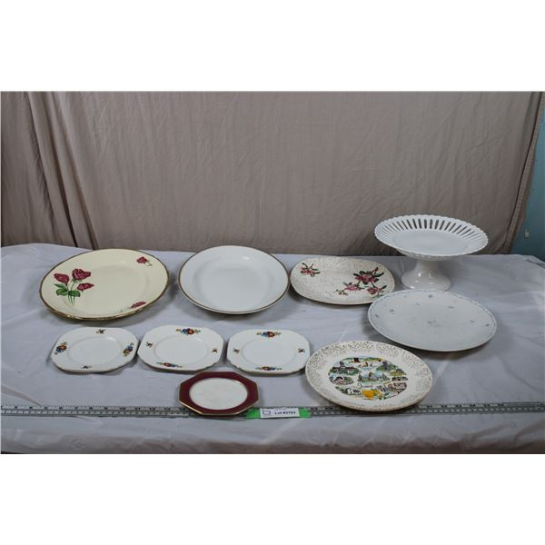 Royal Swan Platter, Cake Serving Tray, Grindley Gold Rimmed Platter, various plates