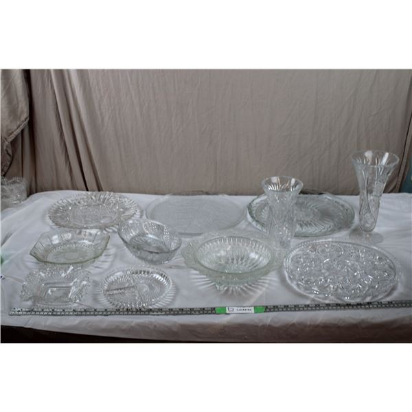 Clear + Etched Glass Serving Trays, Bowls, Vases