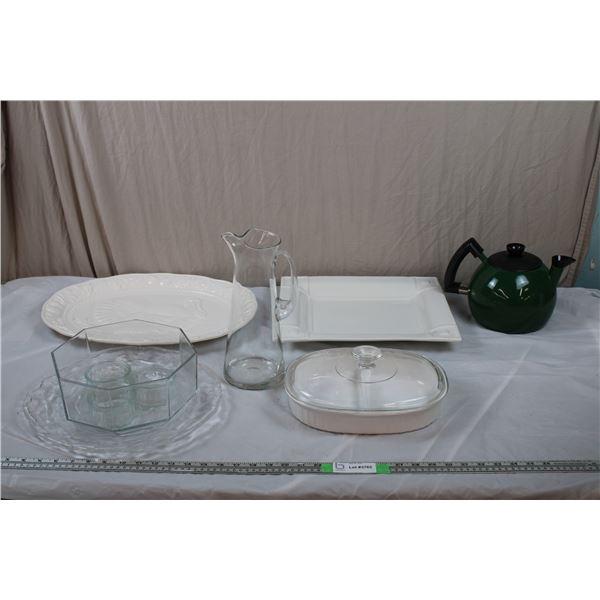 Italian Serving Tray, Turkey Platter, Divided Dish (corningware), clear glass pitcher