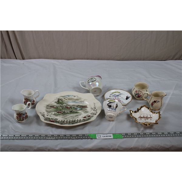 """North West Territory Polar Bear/Wolf Teacup + Saucer + Newfoundland Creamers, """"long road home"""" tray"""