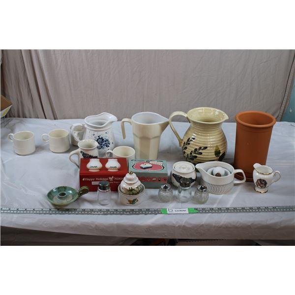 Stoneware, pitchers, salt+pepper shakers, pestle mortar, miniature gold rimmed vase