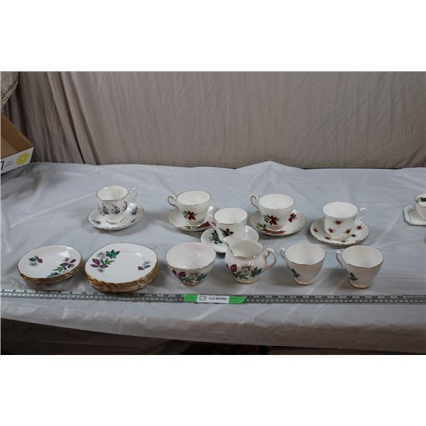 Queen Anne Plates (6), Creamer + Sugar, 2 Cups with 4 saucers, 5 various bone china cup + saucers