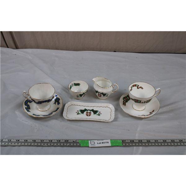 Scottish sets Adderley + Elizabethan Cup + saucers, cream + sugar serving tray