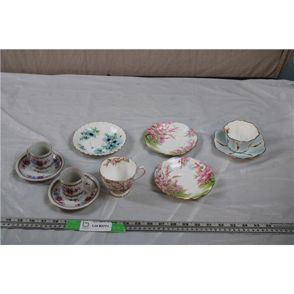 Royal Albert Saucers with Cup, Royal stuart Cup + Saucer, 2 Small China Sake Cup+saucers
