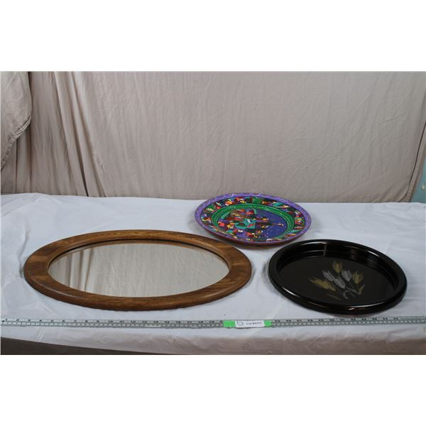 """Round Mirror 23""""x15"""" - plastic serving tray, stone plate"""