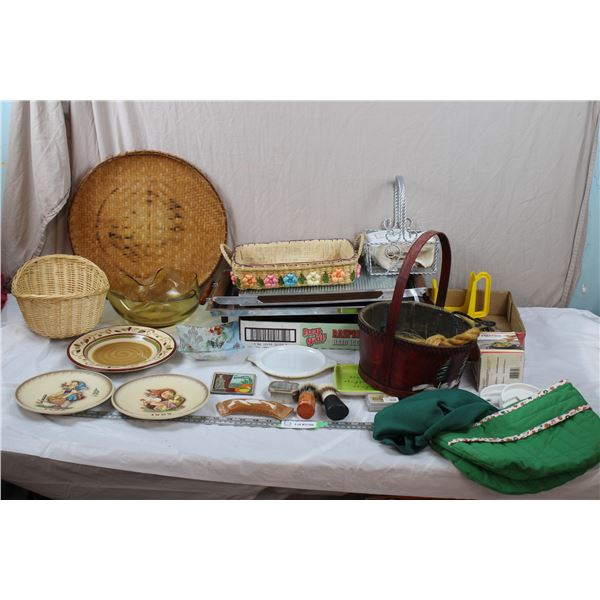 Serving Tray + Food Warmer (missing power cord), misc plates, cutlery, and various household items
