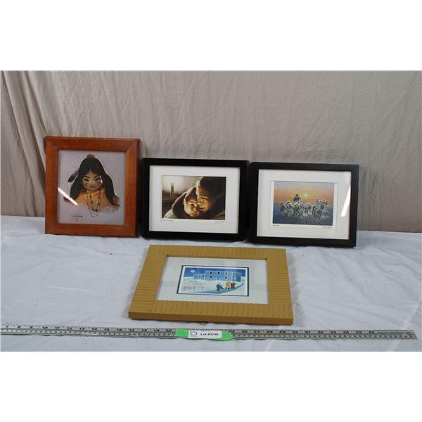 """Inuit prints in frame - """"Dog Team"""""""