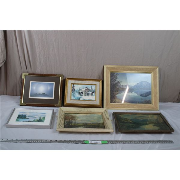 Various scenic prints + painting