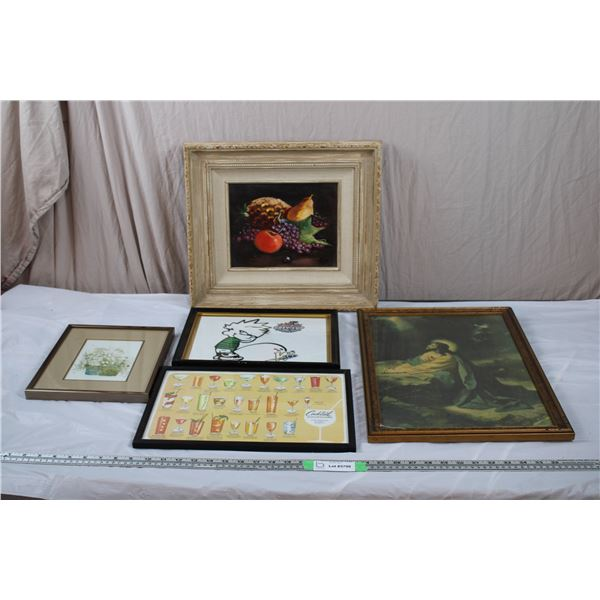 Various portraits in frames, painting, photocopied print