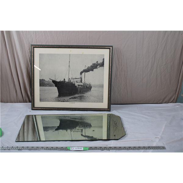 "vintage mirror + vintage ""SS Glencoe"" Ship print"