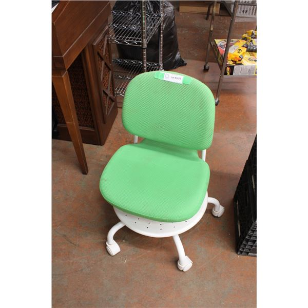 Small Green Chair on Casters