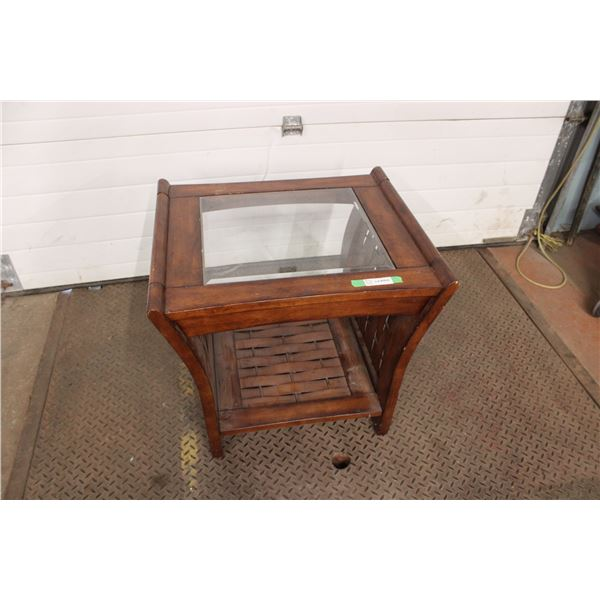 Glass Top Wooden Table