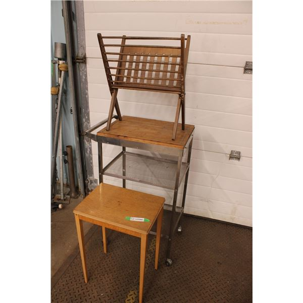 """2 Small Tables Microwave Stand and Magazine Rack 20"""" x 15"""""""