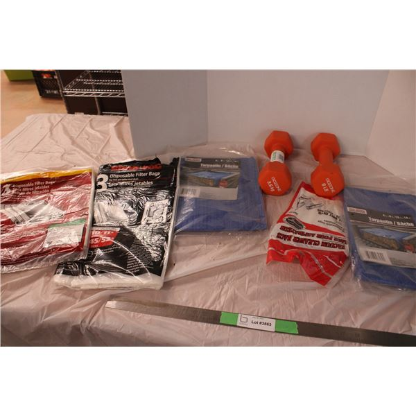 Vacuum Filter Bags and Small Tarps 2 8lb Weights