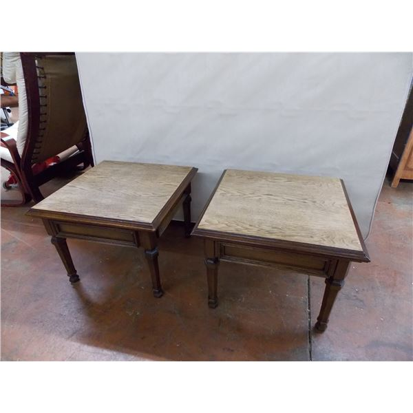 """Pair of Matching Square End Tables - 21x21x16"""" (heavy solid wood)"""