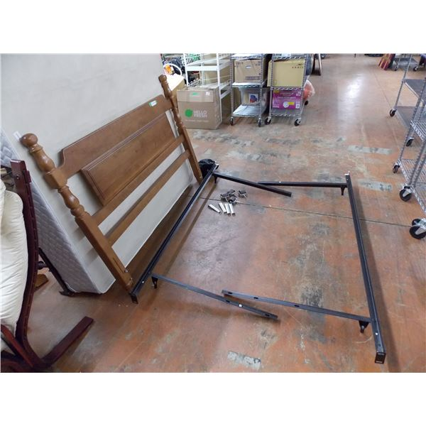 Adjustable Steel Bed Frame on Wheels, with Headboard