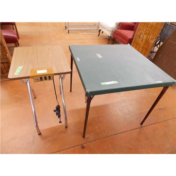 Vinyl Card Table + Small Projector Table (one locking mechanism on card table leg is damaged)