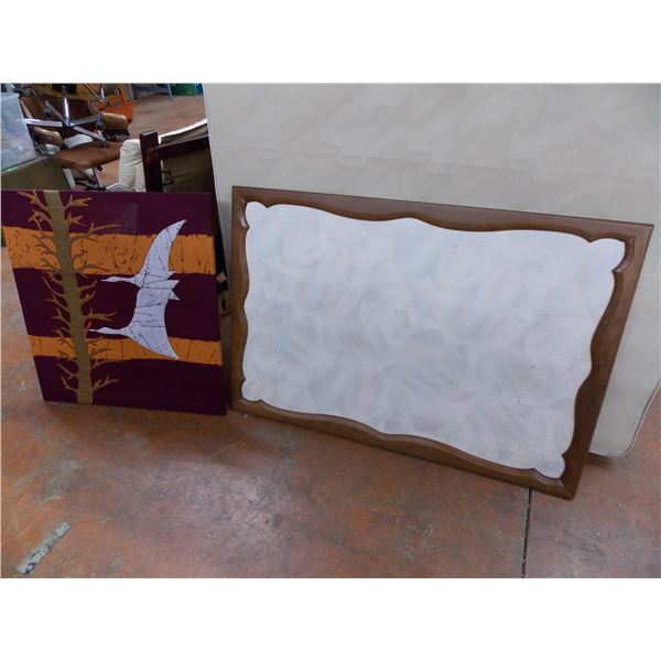 Large Framed Corkboard (33x49)+ Cloth Stitched picture (31x33)