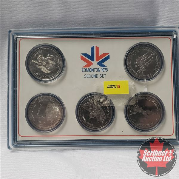Edmonton 1978 Second Set (5 Medallion Encased) XI Commonwealth Games