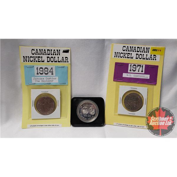 Canada Dollar Coins (3): 1974 Winnipeg 100; 1971 British Columbia; 1984 Jacques Cartier